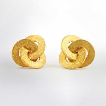 Ohrstecker Tri Circulum gelbvergoldet Claris-Schmuckdesign